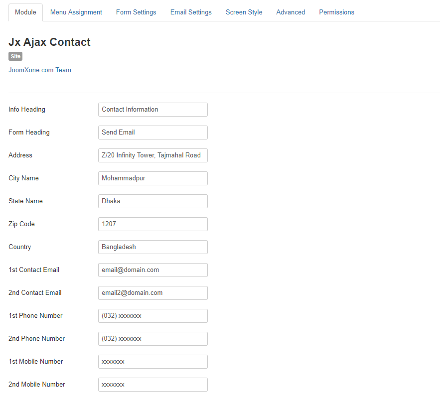 Jx Ajax Contact for Joomla